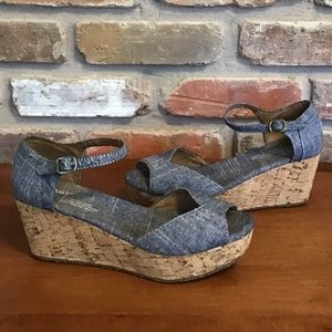 TOMS Chambray Denim Wedges Sandals